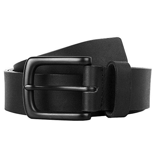 Black Genuine Buckle Belt (32-36 inch Handmade Genuine Soft Leather Black Belt for Casual Formal Dress)