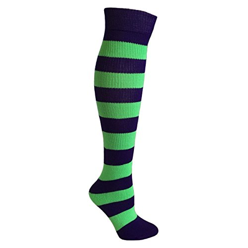 Kids Striped Knee Socks - Purple/Lime - Lime Green Purple