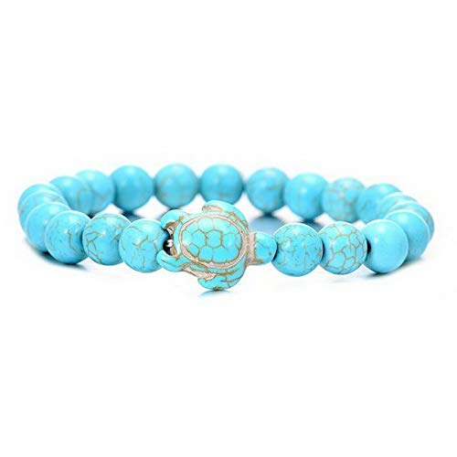 Mikash Men Women Natural Stone Turquoise Beaded Turtle Charm Bracelet Lucky Gifts Hot | Model BRCLT - 11869 |