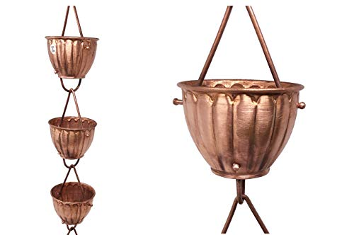 U-nitt 8-1/2 feet Pure Copper Rain Chain for Gutter: Fluted Ribbed Cup 8.5 ft Length -