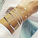 INFINIT-121 1Pcs Long Bracelet Jewelry Inspired Metallic Gold and Silver Tattoo Stickers Temporary Tattoos