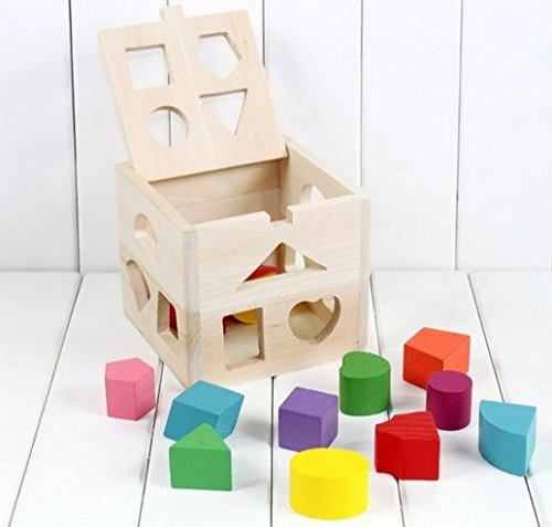Hot NEW Wooden Knob Puzzle Cube Shape Sorter Childrens Educational Toy