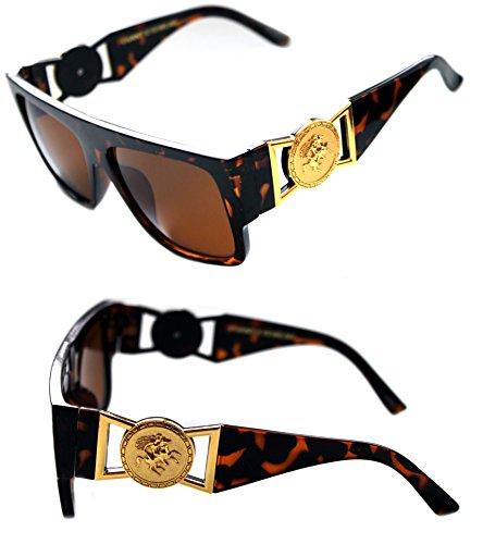 MEN'S FLAT TOP GOLD COIN DESIGNER HIP HOP VINTAGE 424 RETRO 80'S 90'S (Brown Gold, Brown) by Krueger Haus
