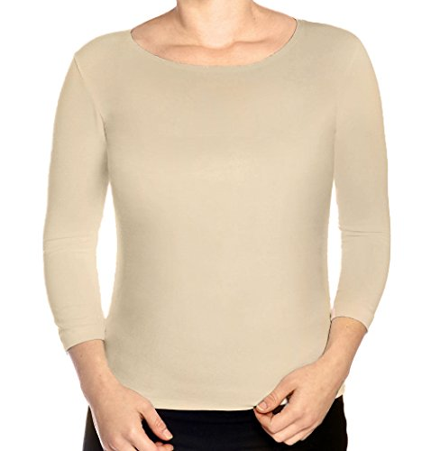 Kosher Casual Women's 3/4 Sleeve Boat Neck Fitted Layering Top Small Beige (Neck Boat Tee Knit)