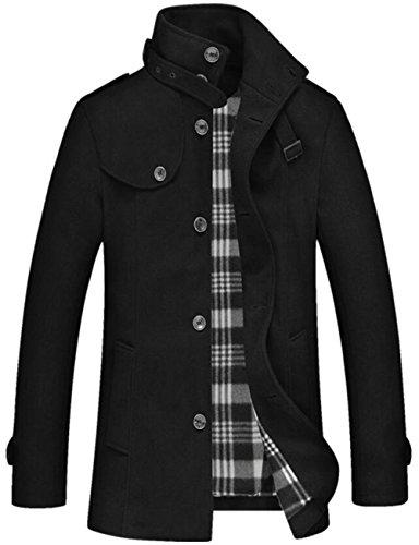 JEWOSOR Mens Winter Warm Soft Wool Blend Pea Coats Slim Fit Overcoat Stand Collar Trench Coat Peacoat (US Small/Tag Asia L, Black)