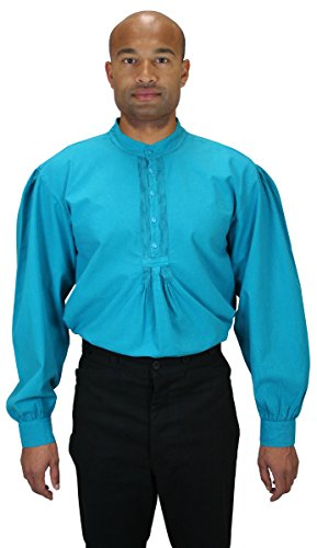 [Historical Emporium Men's Fundamental Cotton Work Shirt L Aqua Blue] (Sweeney Todd Halloween)