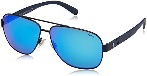 Polo Ralph Lauren Men's 0ph3110 Non-Polarized Iridium Aviator Sunglasses, matte navy blue, 60.0 mm ()