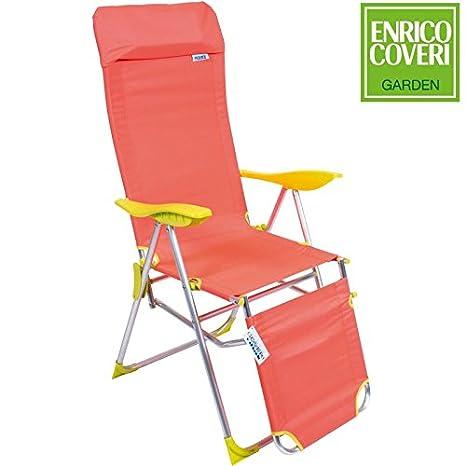 Sedie Sdraio Alluminio Con Poggiapiedi.Sedia Sdraio Relax In Alluminio Pieghevole Reclinabile 5 Posizioni