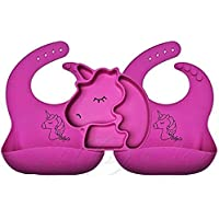 SILLYCO Silicone Suction Plate Bib 3pc Feeding Set - 1 Purple Pink Unicorn Silicone Suction Divided Portion Control…
