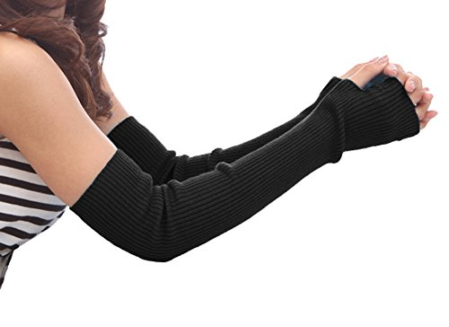 Wool Fingerless Arm Warmers Gloves with Thumb Hole, Black ()