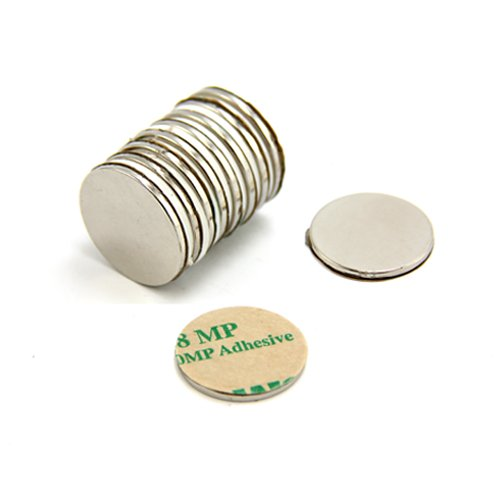 2kg force dadh/érence Magnet Expert/® Adh/ésif 20mm diam/ètre x 1,5mm N42 n/éodyme aimant Nord pack de 10
