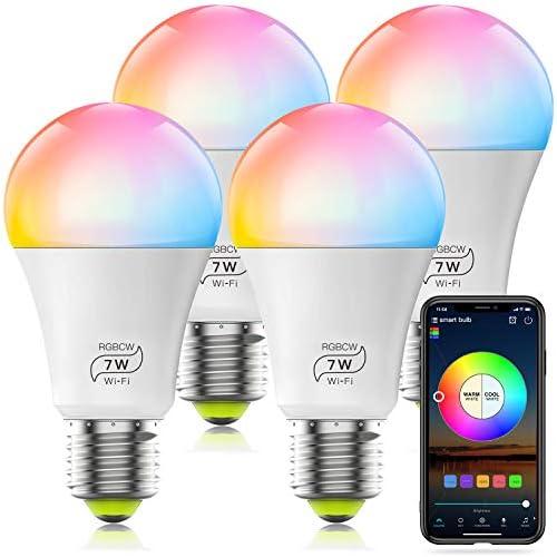chollos oferta descuentos barato Bombilla LED Inteligente WiFi Regulable 7W 600 Lm Lámpara E27 Multicolor Bombilla Compatible con Alexa Echo e Google Home A19 90W Equivalente RGBCW Color Cambio Bombilla 4 Pcs