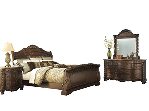 Ashley North Shore 4PC Bedroom Set E King Sleigh Bed Dresser Mirror One Nightstand in Dark Brown