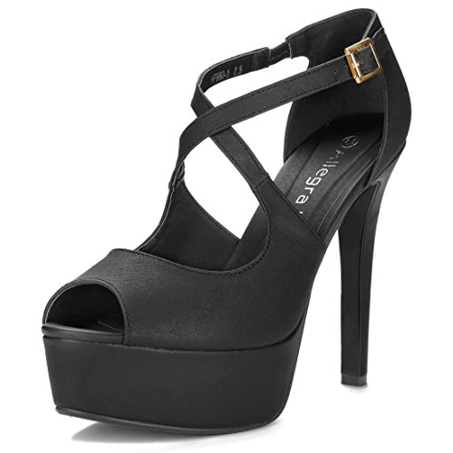 Allegra Black Womens Stiletto Heels 2 Peep K Platform Toe rR6wArqO