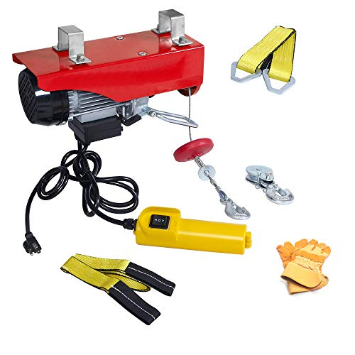 AC-DK 110V Electric Winch 440 lb Crane Lift Garage Electric Hoist Ceiling Pulley Winch with Steel Wire Rope Emergency Stop Control Switch Safety Operation Gloves and Lifting Straps