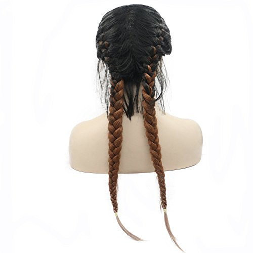 24inches Long Braided Wigs Black Ombre Brown Two Color High Temperature Natural 2x Twist Braids Wigs with Baby Hair Synthetic Lace Front Wigs for Women Ladies Girls Half Hand Tied Swiss Lace Glueless]()