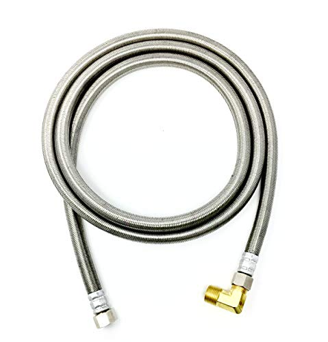 "Shark Industrial Premium Stainless Steel Dishwasher Hose - 6 FT No-Lead Burst Proof Water Supply Line 3/8"" comp x 3/8"" comp with attached 90 degree 3/8"" comp x 3/8"" MIP elbow - 10 year warranty"