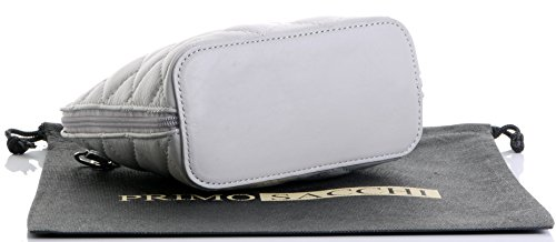 Metal Protective Bag Grey Leather Chain Handbag Bag Storage Branded Micro Primo Small Light with Shoulder Hand Sacchi a Includes Leather Strap Made Italian Quilted and 4cwZB7qRxS