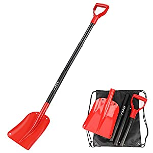 COFIT 47″ Retractable Snow Shovel, Aluminium Alloy Snow Sand Mud Removal Tool for Car Outdoor Camping and Garden, Detachable Four-Piece Construction, Red and Black