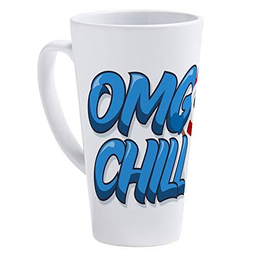 (CafePress Emoji OMG Chill Snowman 17 oz Latte Mug)