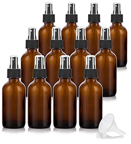 4 oz Amber Glass Boston Round Fine Mist Spray Bottle (12 Pack) + Funnel for Essential Oils, Aromatherapy, Food Grade, bpa Free ()