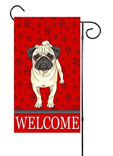 "Pug - Dog Lover Garden Flag 12""x18"""