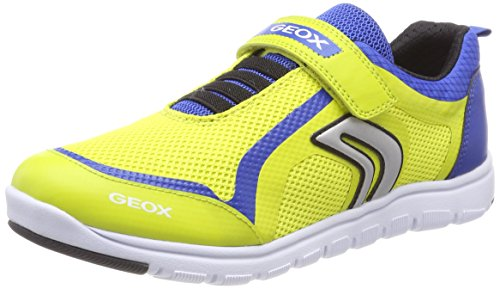Geox J Xunday B, Zapatillas Para Niños Amarillo (Lime Green/royal)