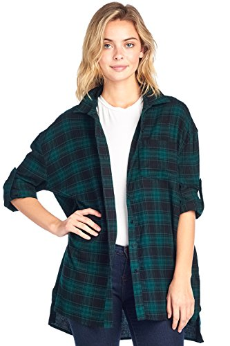 Price comparison product image ICONICC Women's Plaid Oversize Button Down Top with Front Pocket (K1001_GRN_M)