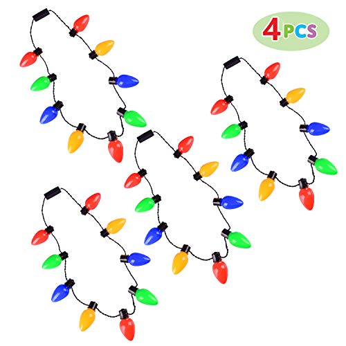 Max Fun 4 Pack LED Christmas Light Necklace Light Up Party Favors Ugly Xmas Party (9 Bulbs)
