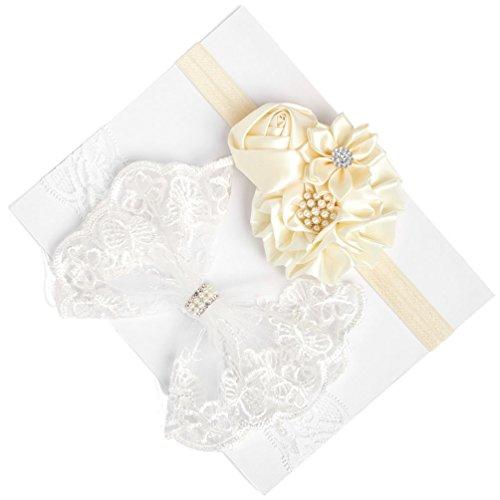 Organza Bow Headband - inSowni 2PCS Christening Baptism Flower Headbands for Baby Girl Toddlers Infants Newborn Kids (2PCS S4)