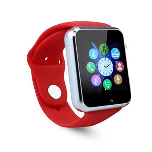 FATMOON Smart Watch Phone, Bluetooth Unlocked Watch Cell Phone with 1.54 Inch Screen GSM 2G for Android iPhone,Samsung Galaxy Note series,Nexcus,HTC etc (Red)