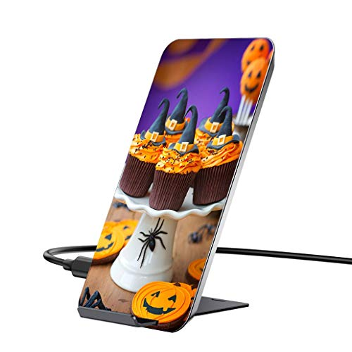 10W Wireless Charger and QI Wireless Receiver,A Plate of Halloween Cupcakes with Orange Frosting Qi Certified Wireless Charging Stand is Compatible with iPhone6/6P/6S/6SP/7/7P -