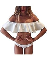 Lady Girls Off Shoulder Ruffle Swim Bathing Suit Bikini Two Piece Set