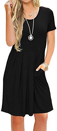 LunaJany Women's Short Sleeve Round Neck Soft Swing Tee Shirt Dress