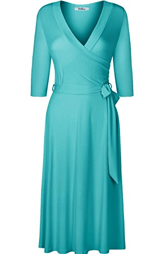 BodiLove Women's 3/4 Sleeve V-Neck Solid Knee Length Wrap Dress Turquoise - V Date Day
