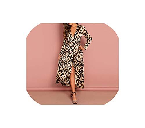 Surplice Wrap Satin Leopard Dress Long Sleeve Dresses Woman Party NightDeep V Neck Long Dress,Multi,S