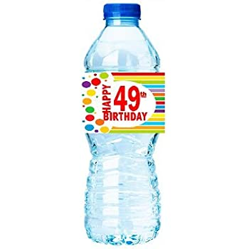 CakeSupplyShop Item#049RWB Happy 49th Birthday Rainbow Water Bottle Labels -15ct