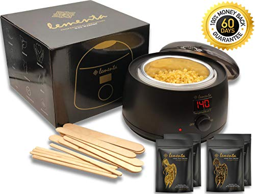 European Wax Warmer Hair Removal Waxing Kit - All-in-1 Starter Kit | 10.5 OZ Italian Hard Wax Beans w/Soothing Effect for Sensitive skin | Painless Eyebrows Nose Brazilian Bikini | Cera Para Depilar
