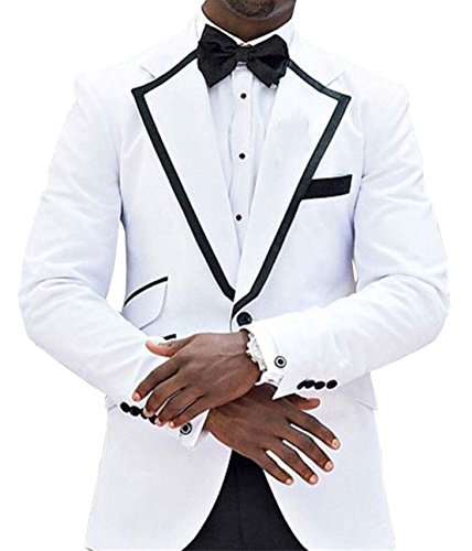 Fitty Lell Men's Suit 2 Piece Formal Tuxedos Suit One Button White Blazer Black Pants Set(36 Regular,White) ()