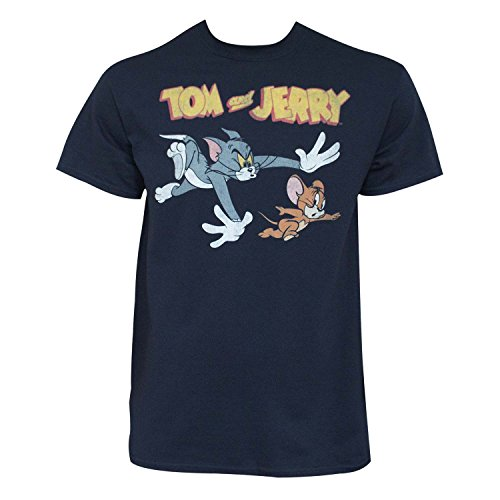 Tom and Jerry Men's Chase T-Shirt, Navy, Large