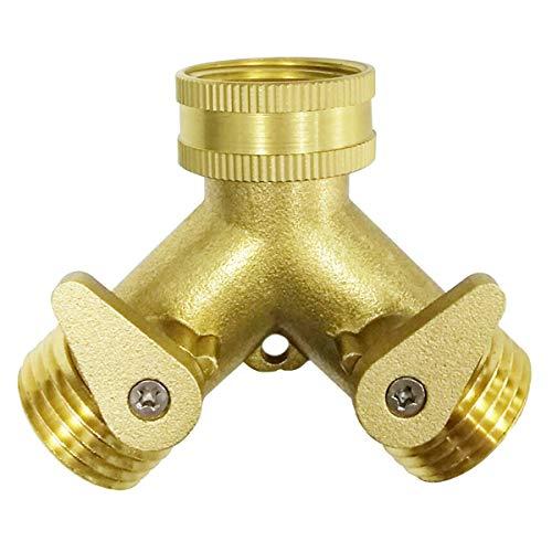 (2-Way Heavy Duty Brass Hose Splitter Garden Hose Connector with Comfort Grip - Hose Spigot Adapter 2 Valves)