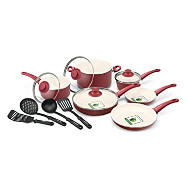 GreenLife Soft Grip 14pc Ceramic Non-Stick Cookware Set, Burgundy