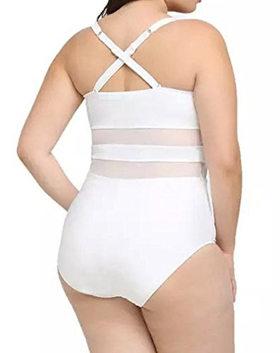 Creabygirls Womens Summer Plus Size Hollow Out Mesh Monokini Swimsuits (3X-Large, White) by Creabygirls (Image #2)