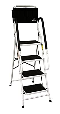 Simple Step 2 in 1 Step Stool and Ladder with Safety Rails and Bonus Ladder Caddy