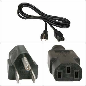 12Ft Computer Power Cord 5-15P to C-13 Black SVT 18/3 (Primo Outlet Grill)