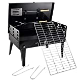 Divinext Stainless Steel Portable Briefcase Style Folding Barbecue Grill Toaster