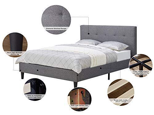 MUSEHOMEINC Upholstered Knighthood Platform Bed/No Boxspring Needed, King - All-in-One style simple and modern platform bed. Dark Grey faux-linen make your bedroom looks warm and comfort. Easy assembly bed frame, no boxspring needed, please pull-open the velcro on the back of headboard, all components (footboard, side-board, wood slats, metal support, plasitc legs etc.) are inside. - bedroom-furniture, bedroom, bed-frames - 41plLyyr1VL -