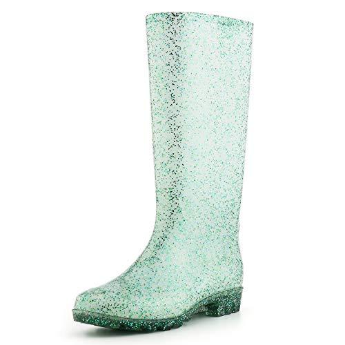 KomForme Women' s Knee High Waterproof Rain Boots Glitter, Matte and Gradient]()