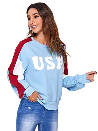 SweatyRocks Women's USA Print Color Block Shirt Top Long Sleeve Casual Pullovers Sweatshirt