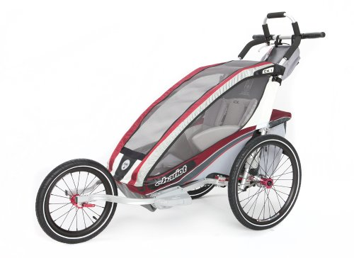 Chariot CX-1 Chassis Bundled with Jogging Kit, 1 Child - Burgundy (1 Jogging Kit)